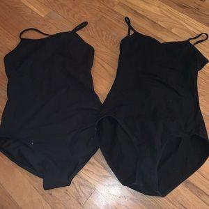 Black cotton ballet leotard duo